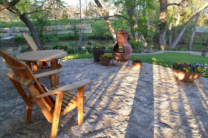 Wonderful Download Outdoor Patio With Wooden Furniture And Chiminea Stock Photo    Image Of Outdoor, Patio
