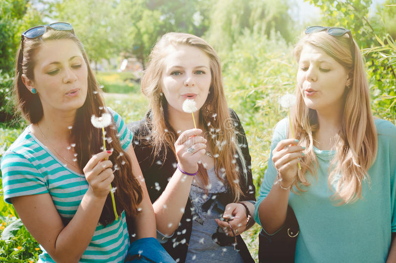 Outdoor photo of beautiful charming girls in stock photography