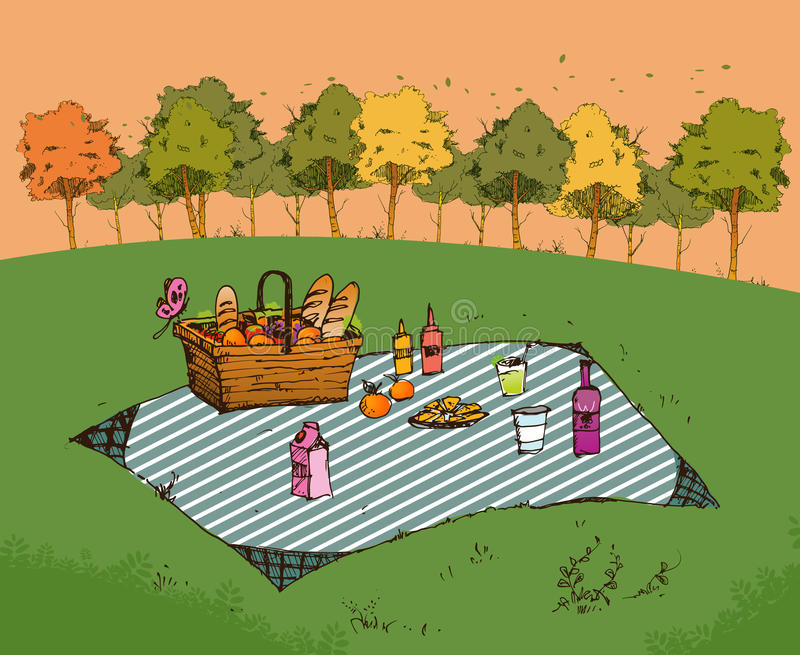 Outdoor picnic in park royalty free illustration