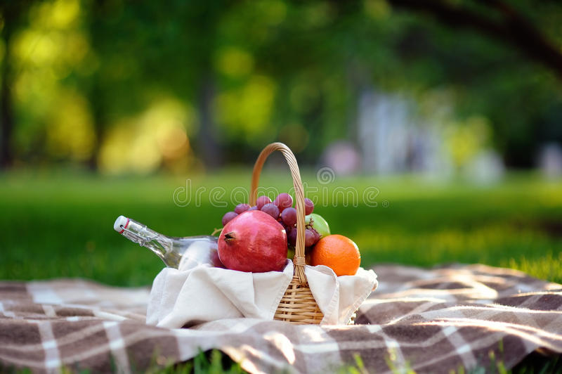 Outdoor picnic in warm day in the summer park stock photography