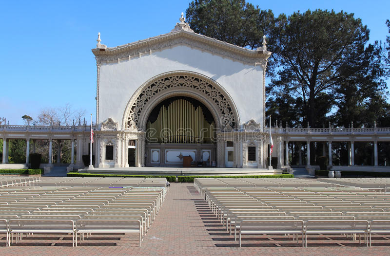 An Outdoor Pipe Organ. The World's Largest Outdoor Pipe Organ (The Spreckels Organ Pavilion). Balboa Park, San Diego, California, USA royalty free stock photo
