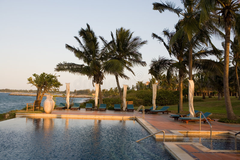 Outdoor pool. At a tropical beach resort stock photography