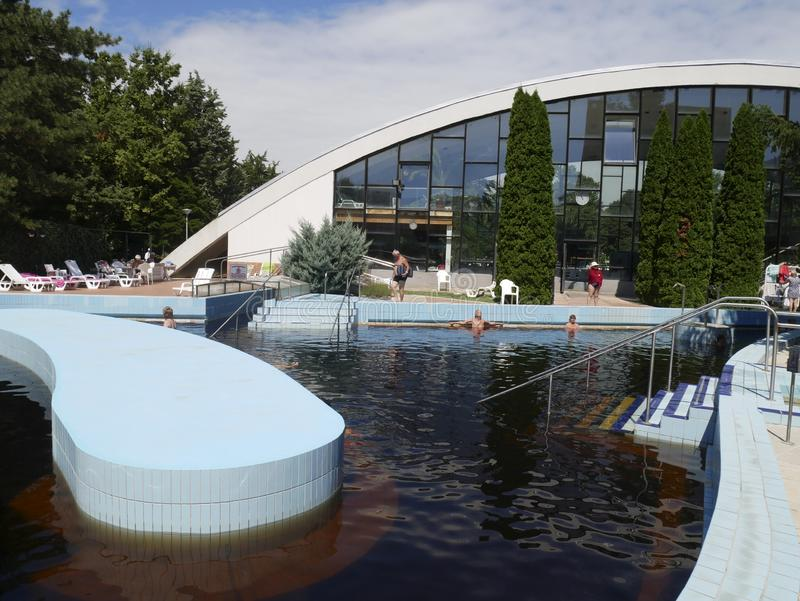 Outdoor pool with thermal water stock image