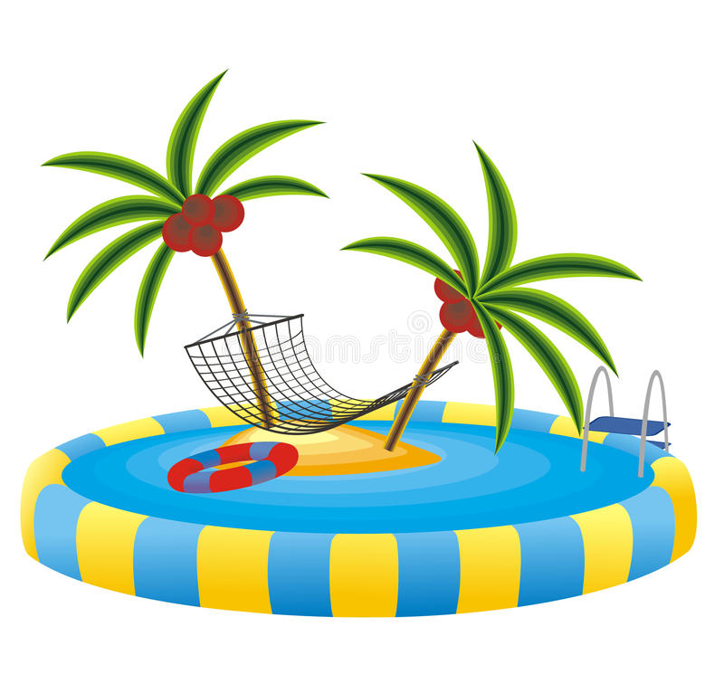Outdoor Pool And Tropical Island Stock Photography