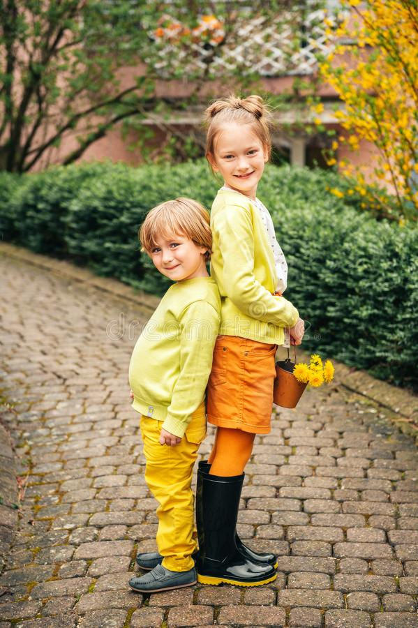Outdoor portrait of adorable fashion kids royalty free stock photo