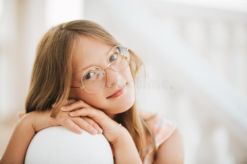 Outdoor summer portrait of young kid girl stock image