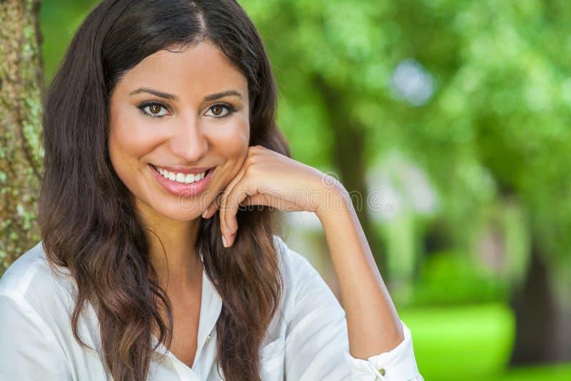 Beautiful Hispanic Latina Young Woman Girl Outside Smiling stock photography