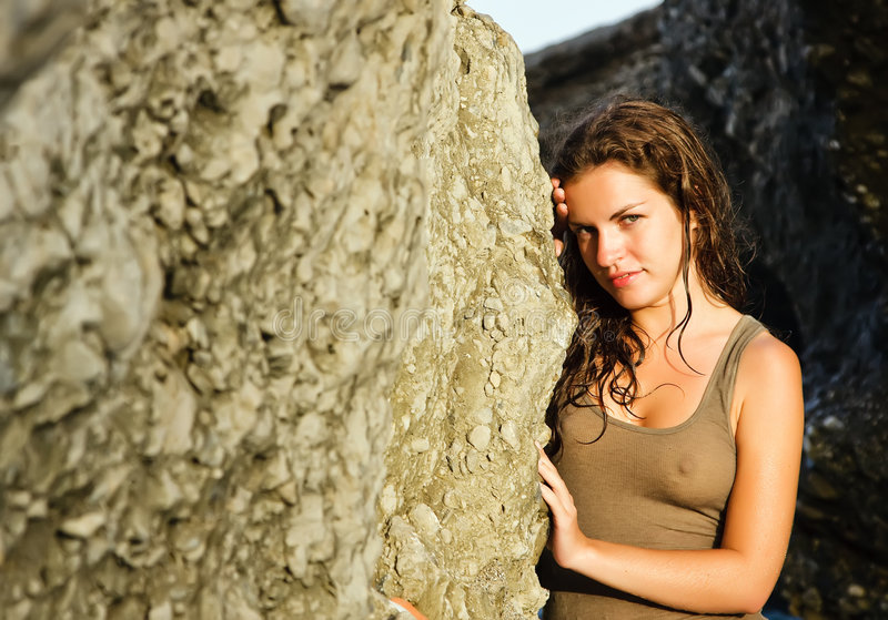 Outdoor Portrait Of Beautiful Young Woman Stock Photo
