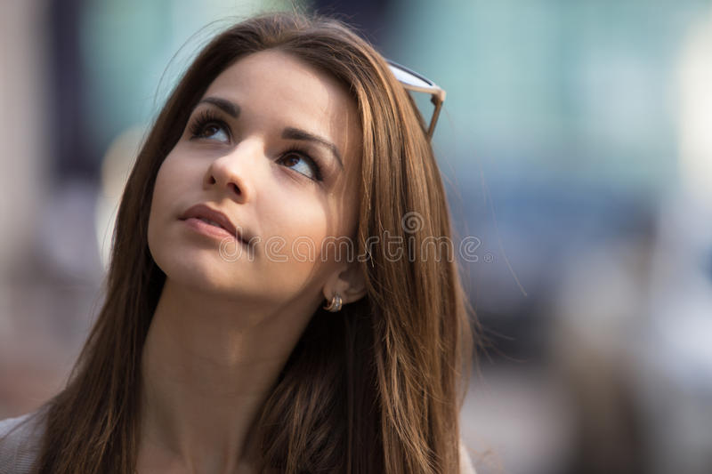 Outdoor portrait of beauty young woman stock photo