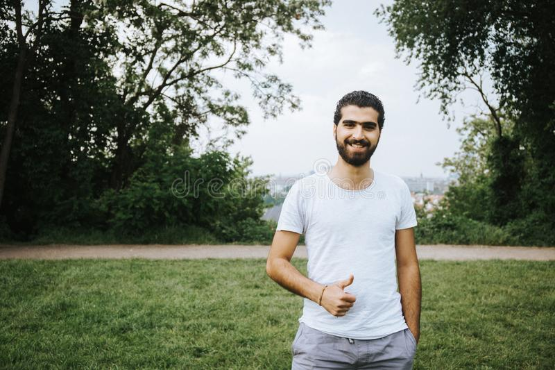 Portrait of cheerful Syrian man stock image