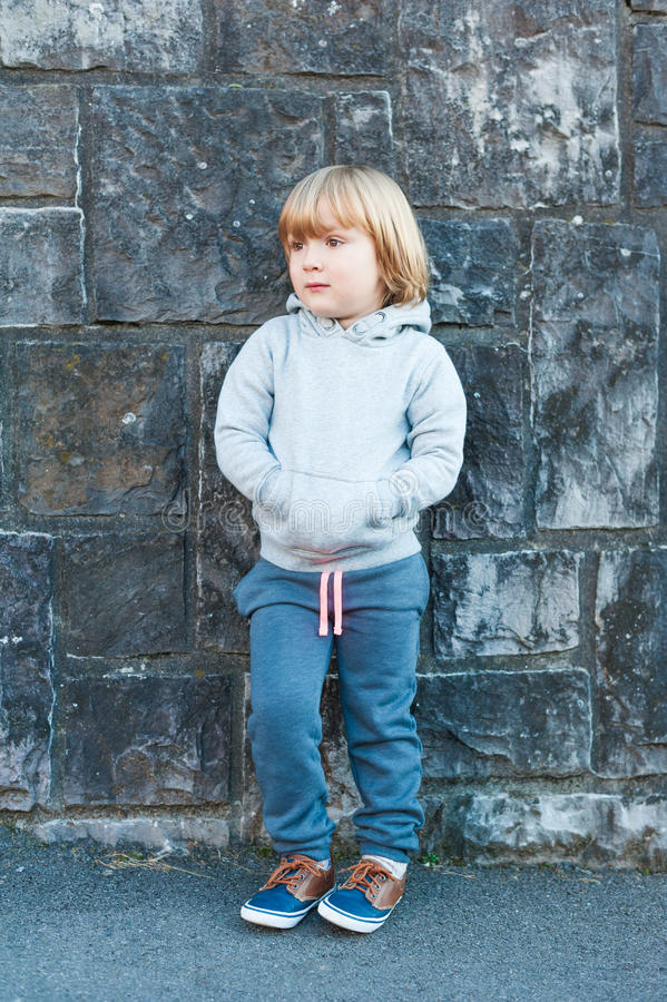 Outdoor portrait of a cute little boy royalty free stock photos