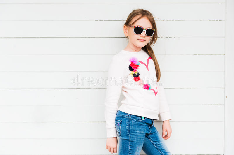 Outdoor portrait of a cute little girl royalty free stock photo