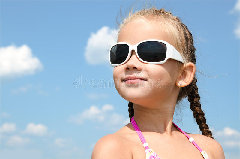Outdoor portrait of cute little girl royalty free stock photo