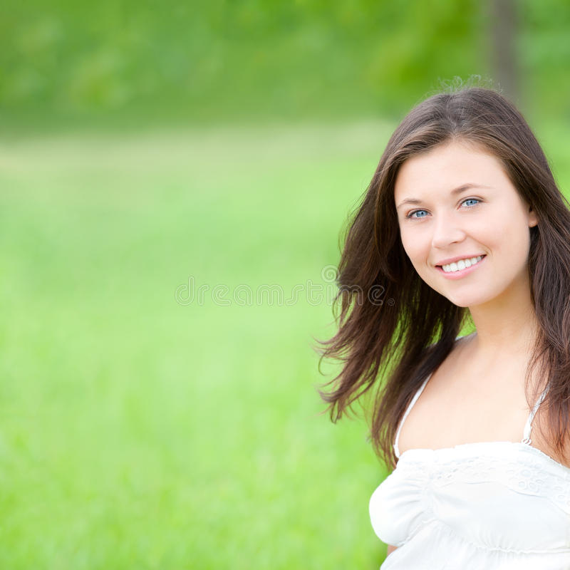 Outdoor portrait of a cute teen, closeup royalty free stock images