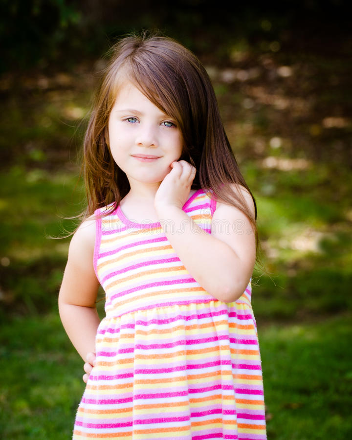 Outdoor Portrait Of Cute Young Girl Stock Image