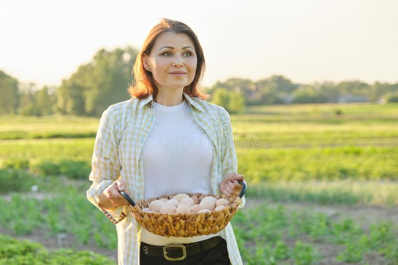 Outdoor portrait of farmer woman with basket of fresh chicken eggs, farm royalty free stock photography