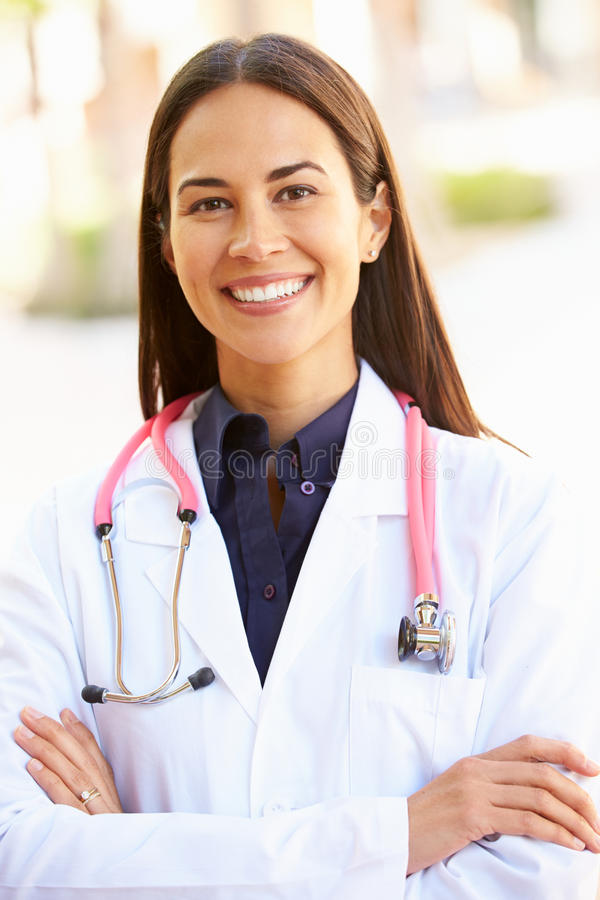 Outdoor Portrait Of Female Doctor royalty free stock photo