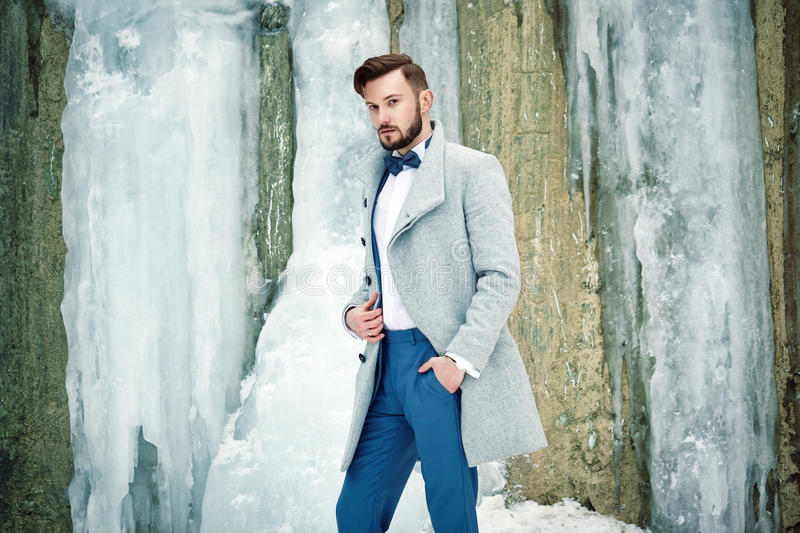 Outdoor portrait of handsome man in gray coat stock images
