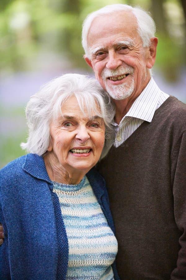 Outdoor Portrait Of Happy Senior Couple stock image