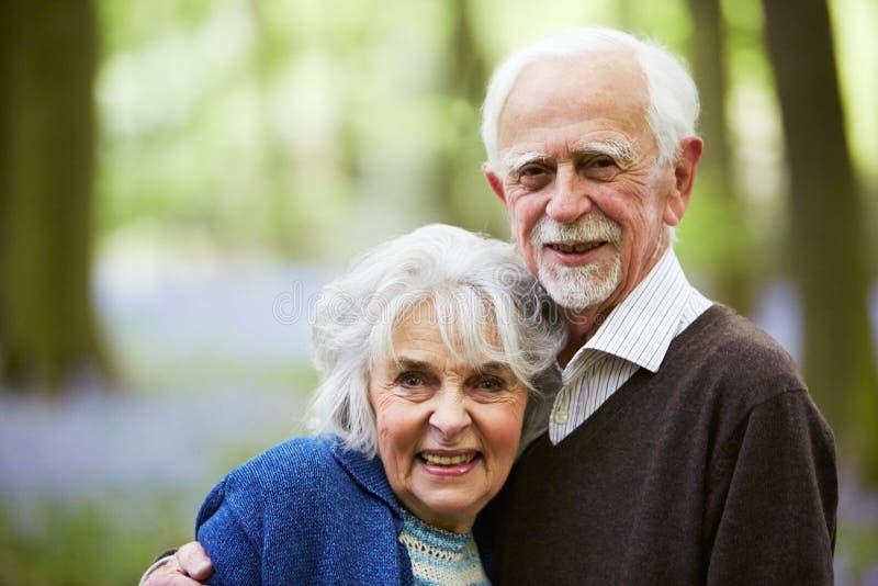 Outdoor Portrait Of Happy Senior Couple stock photography