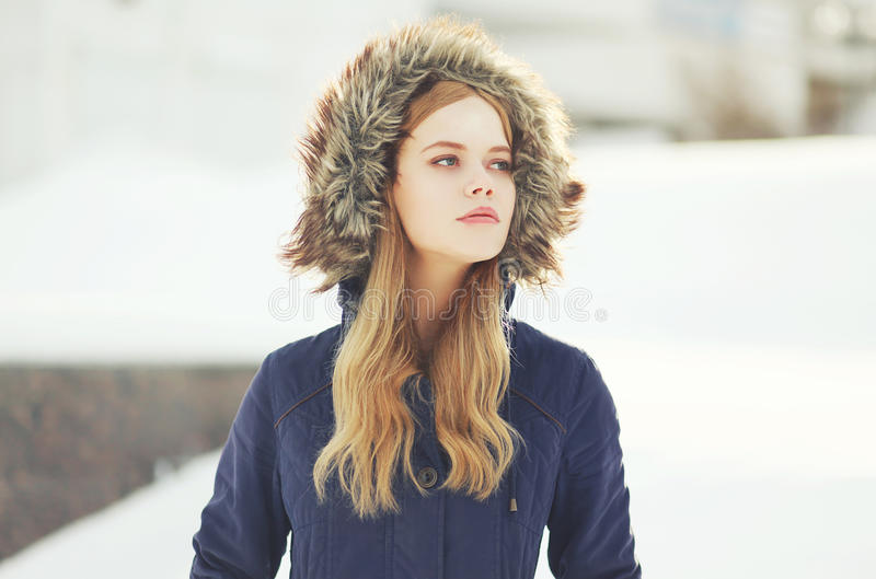Outdoor portrait of hipster stylish girl. In the city stock images