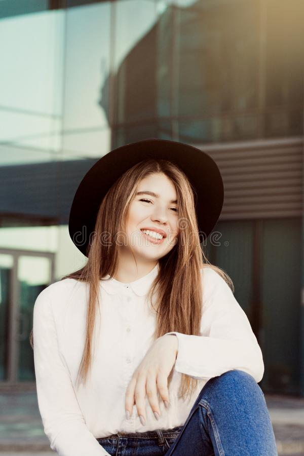 Outdoor portrait of a smiling pretty girl stock photos