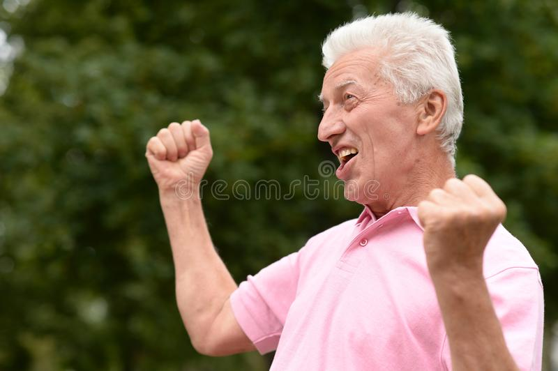 Outdoor portrait of successful man royalty free stock photo