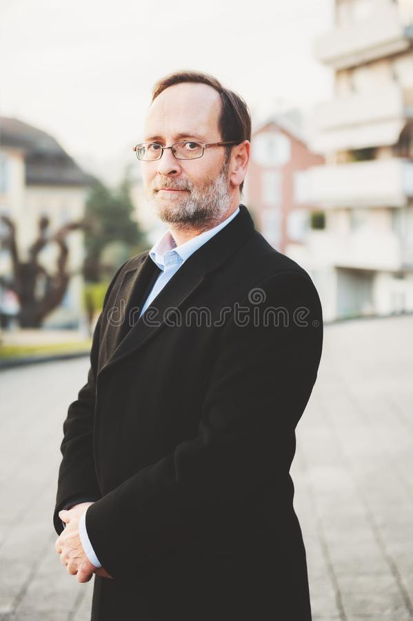 Outdoor Portrait Of 50 Year Old Man Stock Image Image Of Glasses Adult 99755465