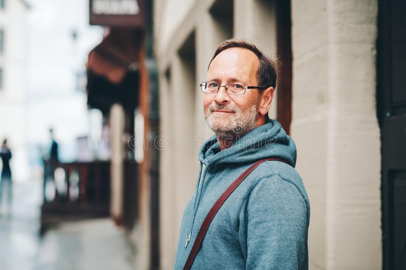 Outdoor portrait of 50 year old man stock photos