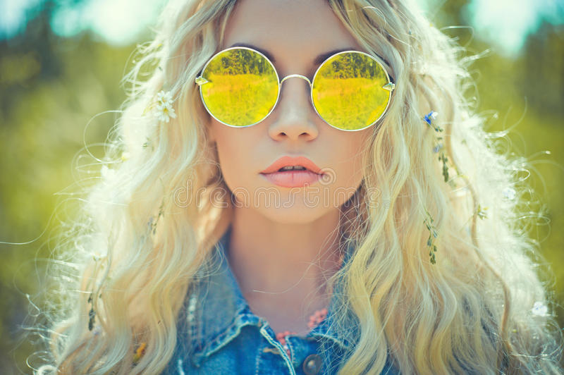 Outdoor portrait of young hippie woman royalty free stock photos