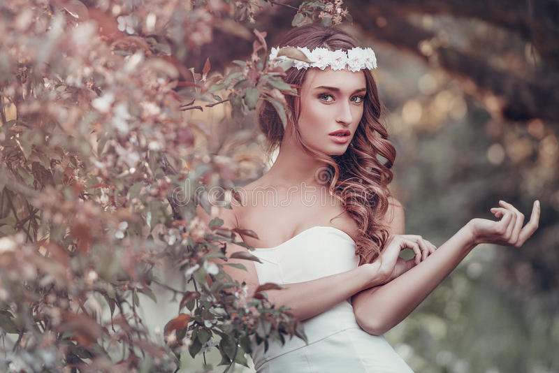 Outdoor portrait of young woman royalty free stock photography