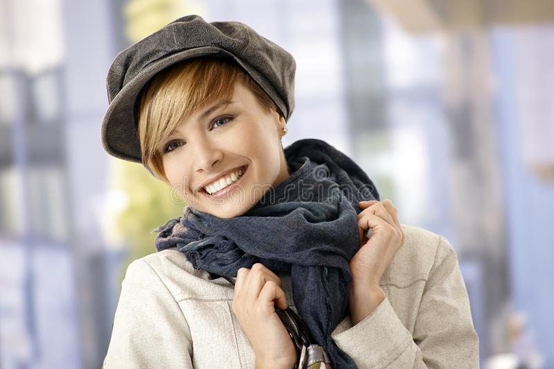 Outdoor portrait of young woman in winter clothes stock images