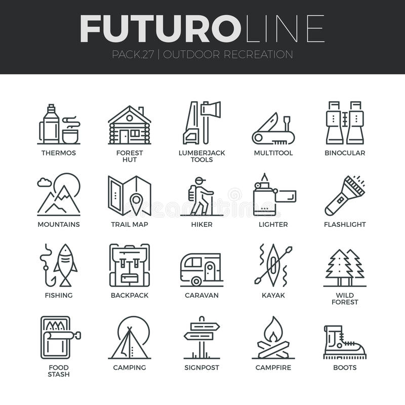 Outdoor Recreation Futuro Line Icons Set. Modern thin line icons set of outdoor recreation activity and hiking tourism. Premium quality outline symbol collection vector illustration