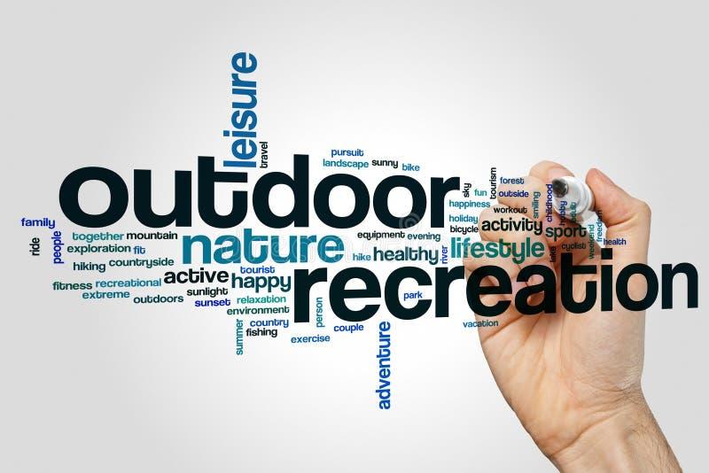 Outdoor recreation word cloud stock image