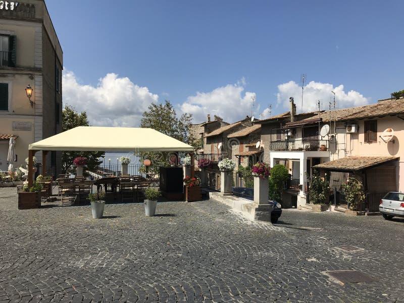 Outdoor Restaurant Lo Sfizio Del Lago Anguillara Sabazia Italy. ANGUILLARA SABAZIA, LAZIO, ITALY - SEPTEMBER 7, 2018: The outdoor restaurant Lo Sfizio Del Lago stock photos
