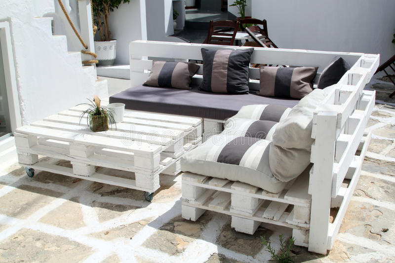 Outdoor Restaurant at Paros, Greece royalty free stock image