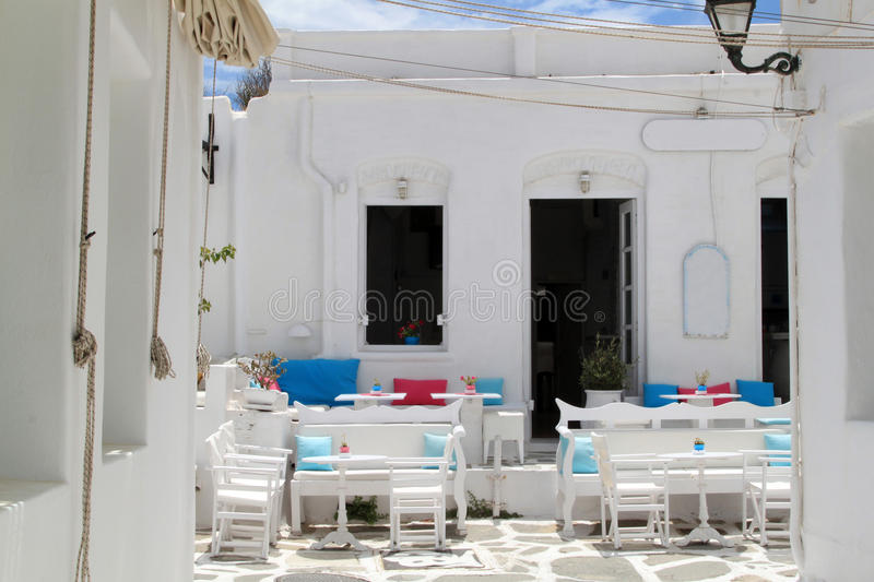 Outdoor Restaurant at Paros, Greece stock images