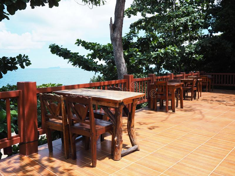 Outdoor restaurant with summer sea view royalty free stock photography