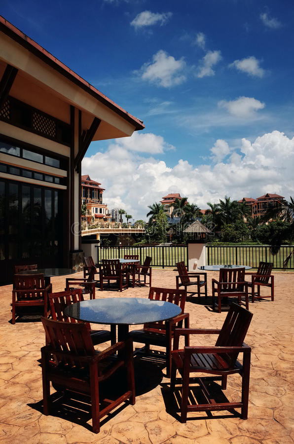 Outdoor Restaurant Table. Tables and Chairs of Outdoor Restaurants royalty free stock image