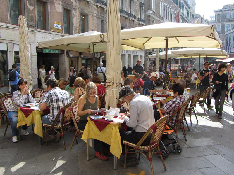 Outdoor restaurant in Venice royalty free stock photography