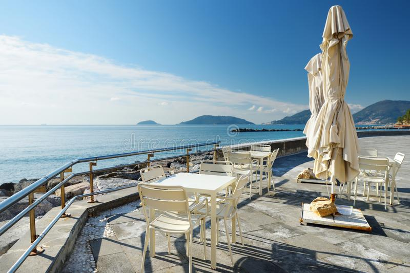 Outdoor restaurants and cafes on a seafront of Lerici town, a part of the Italian Riviera, Italy. Outdoor restaurants and cafes on a seafront of Lerici town royalty free stock photo