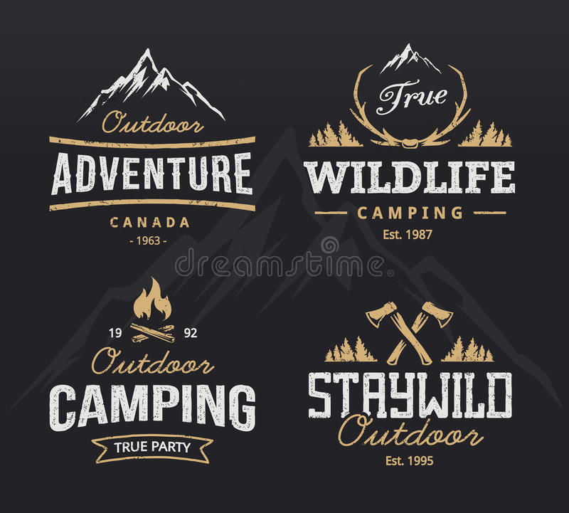 Outdoor Retro Emblems vector illustration