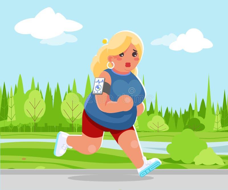 Outdoor running health care run park cardio app smartphone cartoon cute woman fitness character design vector vector illustration