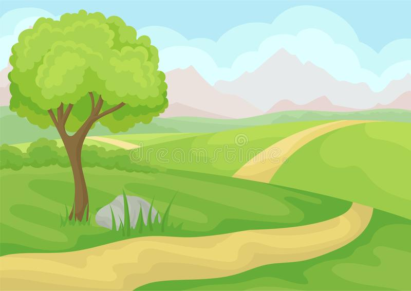 Scenery with tree, ground road and green meadows, mountains and blue sky. Natural landscape. Cartoon vector design. Outdoor scenery with tree, ground road and royalty free illustration