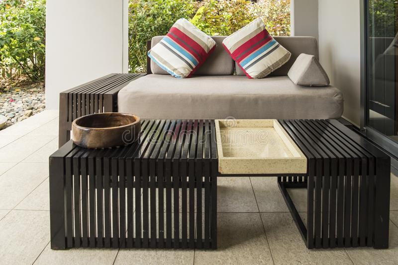 Outdoor seats in luxury resort in tropes stock image