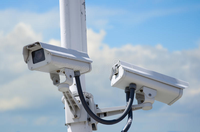 Download Outdoor security cameras stock image. Image of electric - 24657645