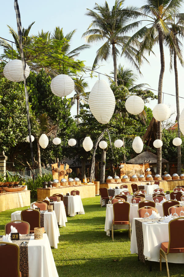 Outdoor setup for wedding reception stock photo