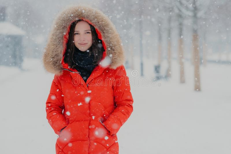 Outdoor shot of attractive woman dressed in winter clothes, keeps both hands in pockets, looks with satisfied expression directly. At camera, walks in open air stock image