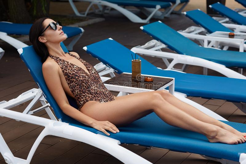 Outdoor shot of lady tanning on blue beach chairs, laying on her back in trendy swimming wear with leopard print, dark eyewear,. With drinks. Protecting healthy royalty free stock photography