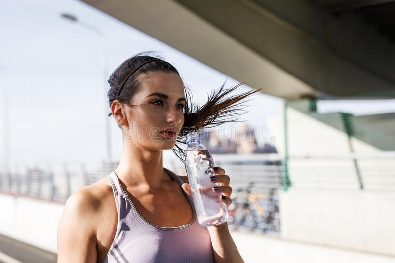 Outdoor shot of young fit woman stock image
